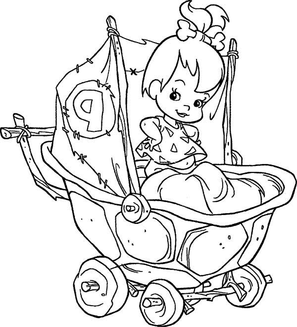 The Flintstones, : Pebbles Flintstone in Her Cart  in the Flintstones Coloring Page