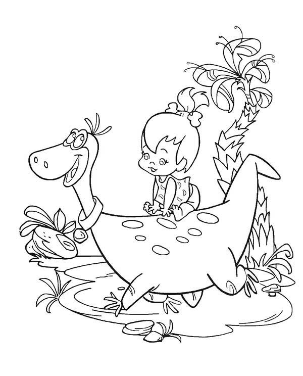 The Flintstones, : Pebbles Sitting on Dinos Back in the Flintstones Coloring Page