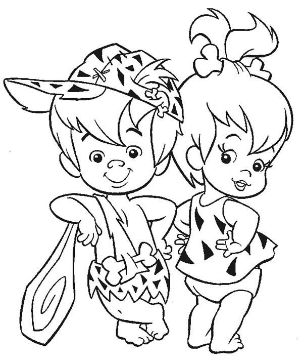 The Flintstones, : Pebbles and Bamm Bamm Ruble Posing in the Flintstones Coloring Page