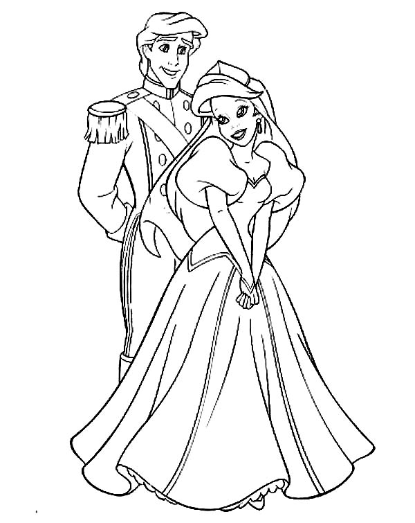 Perfect Couple Prince Eric And Ariel Coloring Page