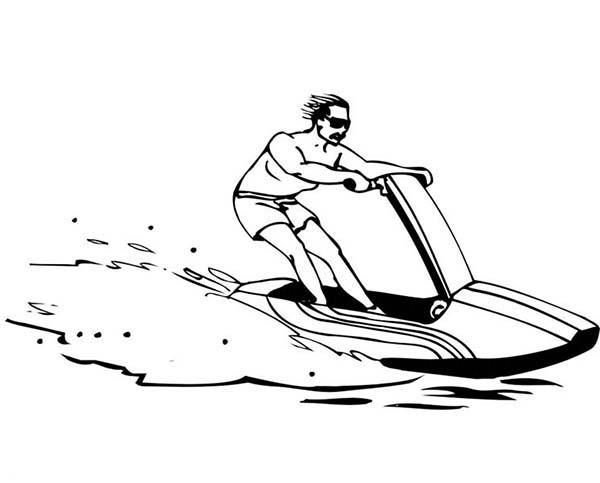 Boat, : Personal Watercraft Boat Coloring Page