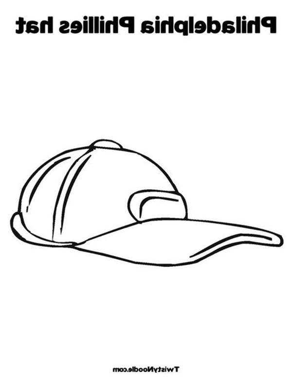 Baseball Cap, : Philladelphia Phillies Baseball Cap Coloring Page