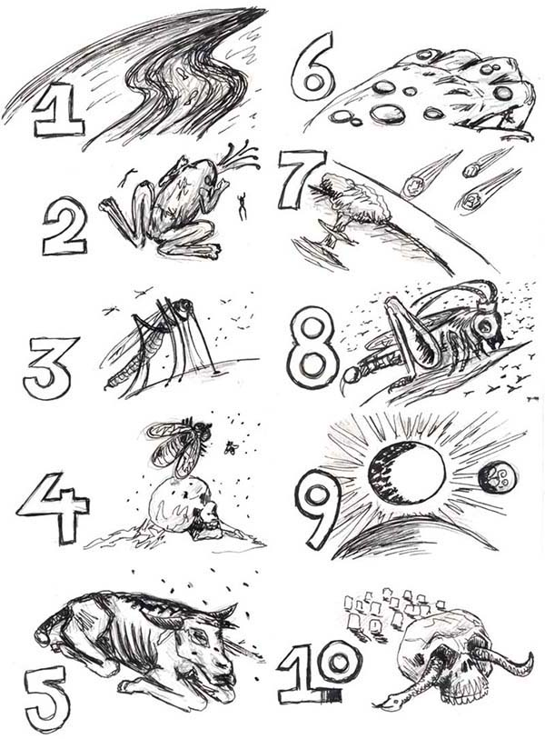 10 Plagues of Egypt, : Picture of 10 Plagues of Egypt Coloring Page