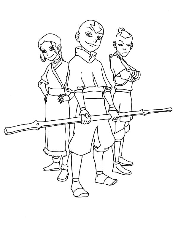 Avatar the Last Air Bender, : Picture of Avatar the Last Air Bender Main Characters Coloring Page