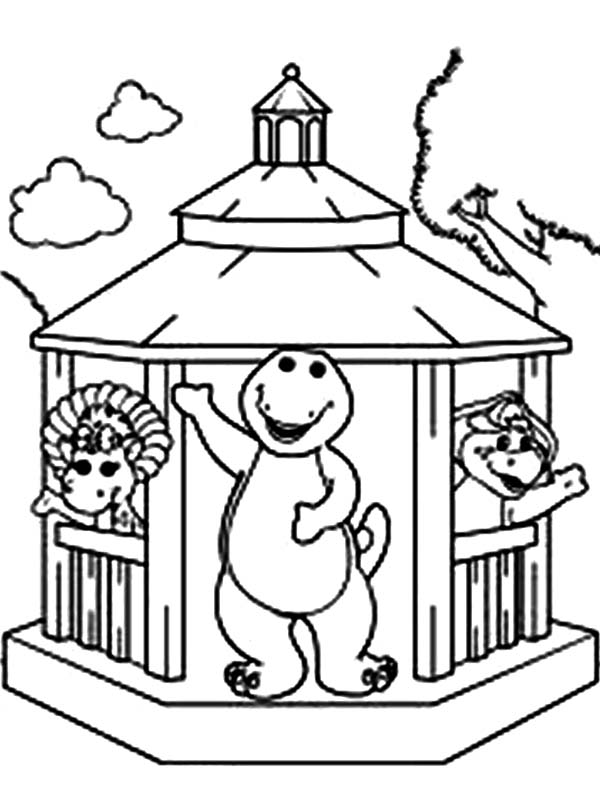 Barney and Friends, : Picture of Barney and Friends Coloring Page