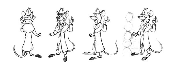 The Great Mouse Detective, : Picture of Basil of Baker Street in the Great Mouse Detective Coloring Page