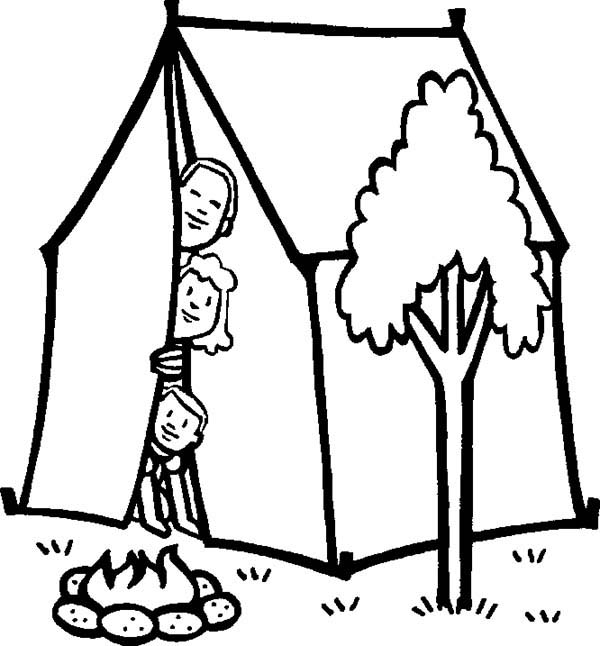 Camping, : Picture of Family Camping Coloring Page