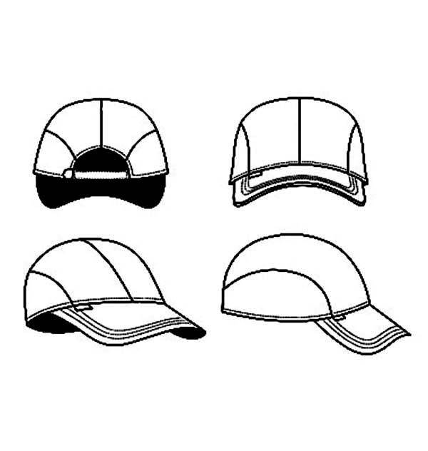 Baseball Cap, : Picture of Four Side Baseball Cap Coloring Page