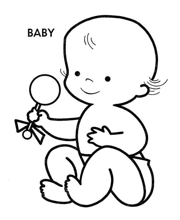 Baby, : Picture of Funny Baby Coloring Page