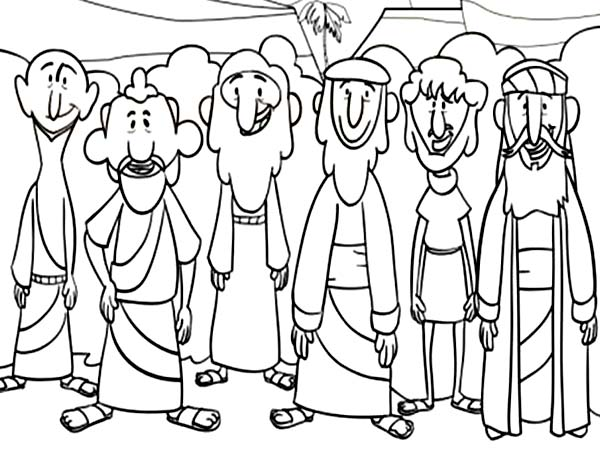 This is a graphic of Breathtaking Jesus And Disciples Coloring Page