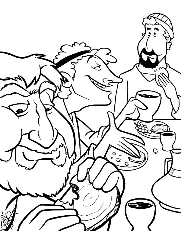 Disciples, : Picture of Jesus Disciples in Last Supper Coloring Page