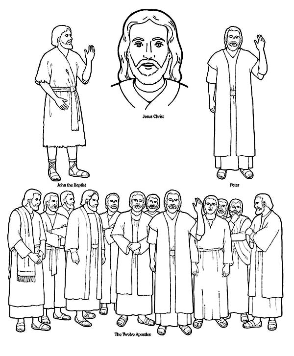 Disciples, : Picture of Jesus and His Disciples Coloring Page