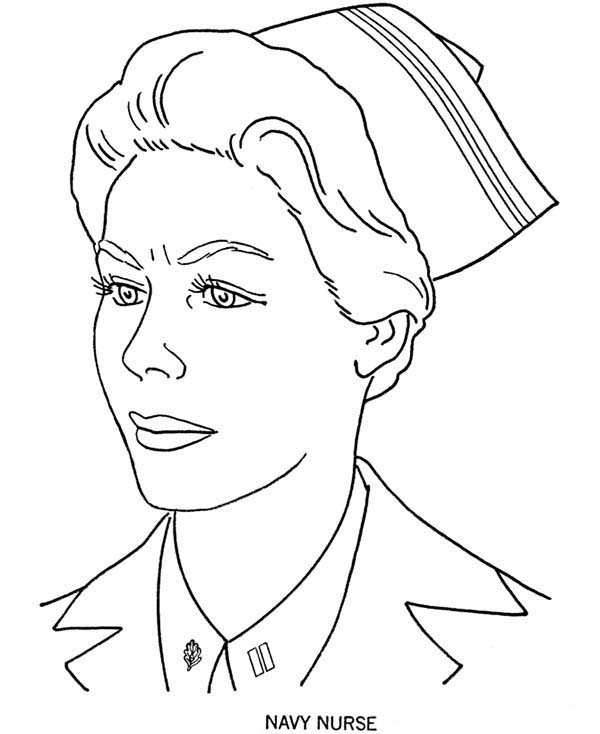 Armed Forces Day, : Picture of Navy Nurse in Armed Forces Day Coloring Page