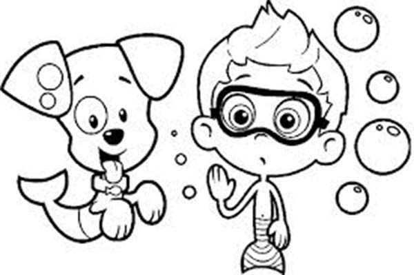 Bubble Guppies, : Picture of Nonny and Bubble Puppy for Bubble Guppies Coloring Page