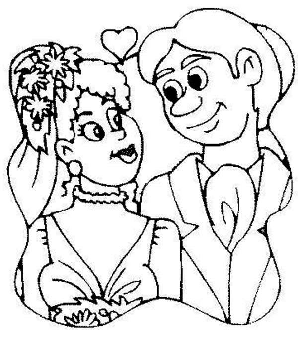 Wedding, : Picture of Wedding Day Coloring Page