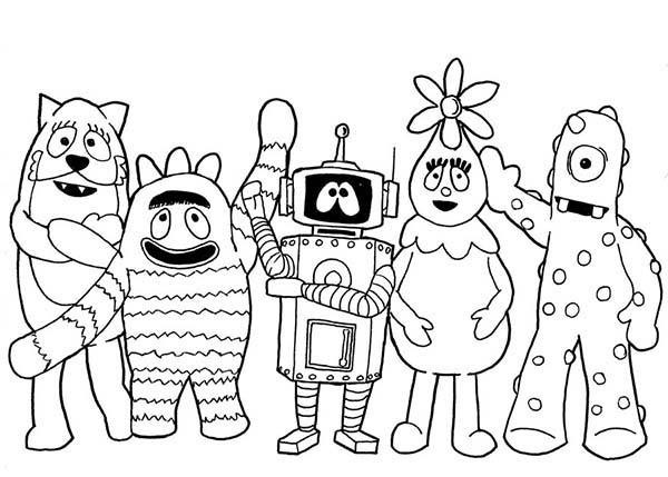 Yo Gabba Gabba, : Picture of Yo Gabba Gabba Characters Coloring Page