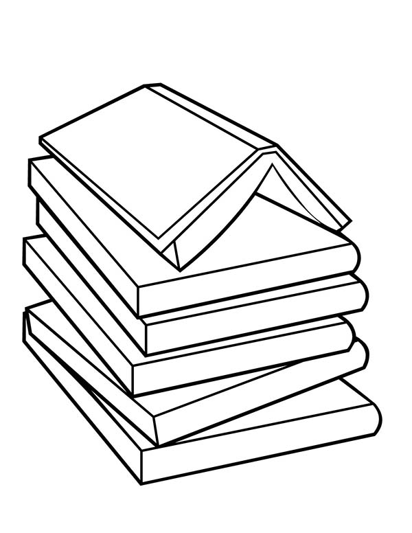 Books, : Pile of Book Coloring Page