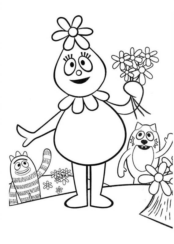 Yo Gabba Gabba, : Pink Flower Bubble Foofa from Yo Gabba Gabba Coloring Page