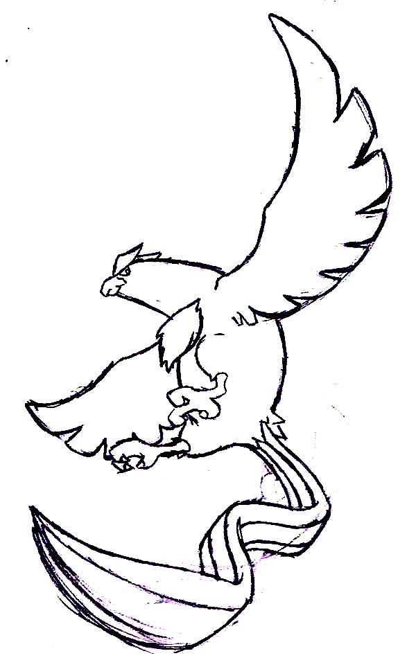 Articuno, : Pokemon Atricuno Sketch Coloring Page