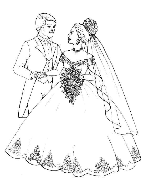 Wedding, : Prepare to Throw Flower Bouquet in Wedding Coloring Page