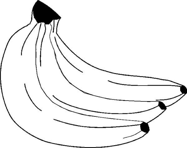 Banana, : Preschool Kids Eat Banana Coloring Page