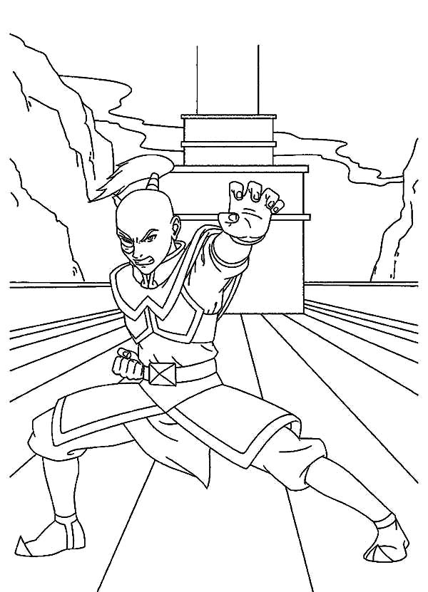 Avatar the Last Air Bender, : Prince Zuko Training on Ship in Avatar the Last Air Bender Coloring Page