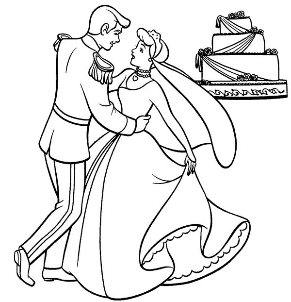 Wedding, : Prince and Princess Dance in Front of Their Wedding Cake Coloring Page