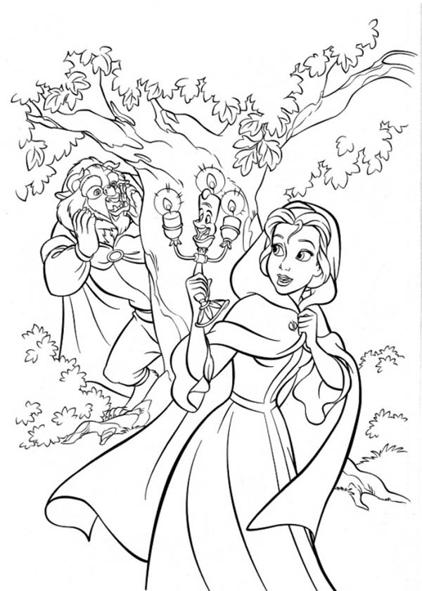 Belle, : Princess Belle and Beast Play Hide and Seek Coloring Pages