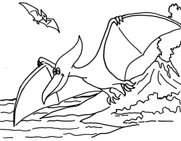 Pteranodon, : Pteranodon Fish Hunting Coloring Page