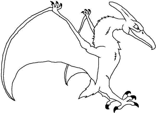 Pteranodon, : Pteranodon Land on Ground Coloring Page