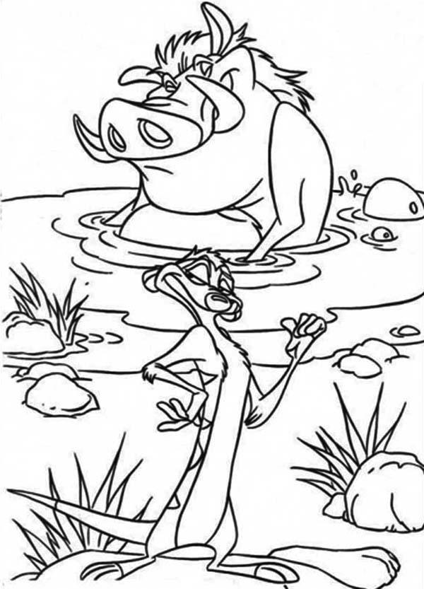 Timon and Pumbaa, : Pumbaa Soaking in Lake in Timon and Pumbaa Coloring Page