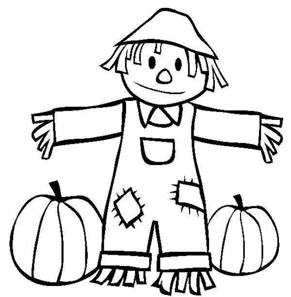 Autumn, : Pumpkin Harvest in Autumn Season Coloring Page