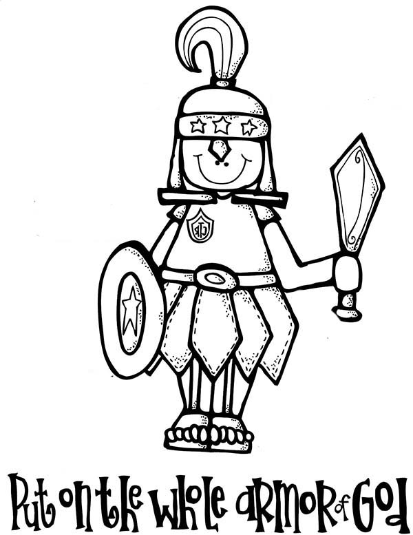 Armor of God, : Put on the Whole Armor of God Coloring Page
