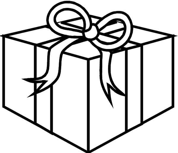 Box, : Ribbon on a Box Coloring Page