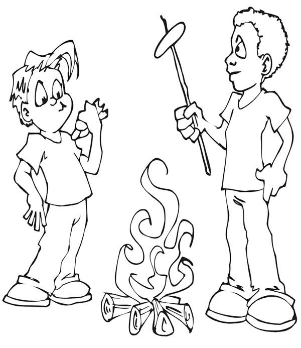 Camping, : Roasting Hot Dog on Camping Fire Coloring Page
