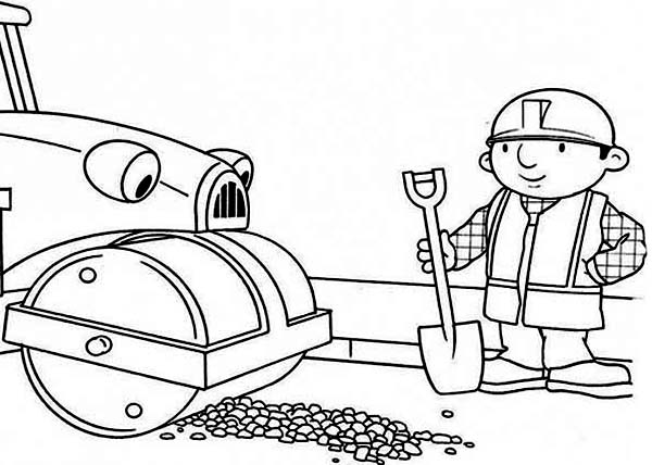 Bob the Builder, : Roley Helps Bob to Repair the Road in Bob the Builder Coloring Page