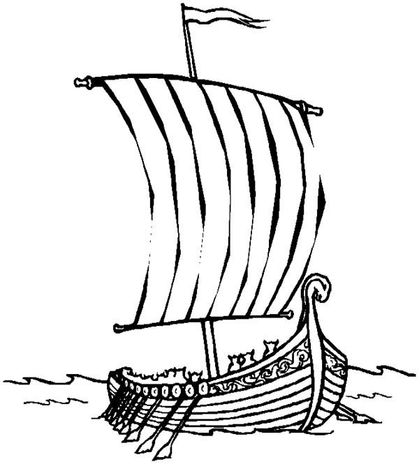 Boat, : Roman Sail Boat Coloring Page