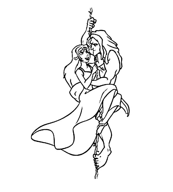 Tarzan, : Romantic Scene When Tarzan and Jane Come Down Slowly with Tree Root Coloring Page