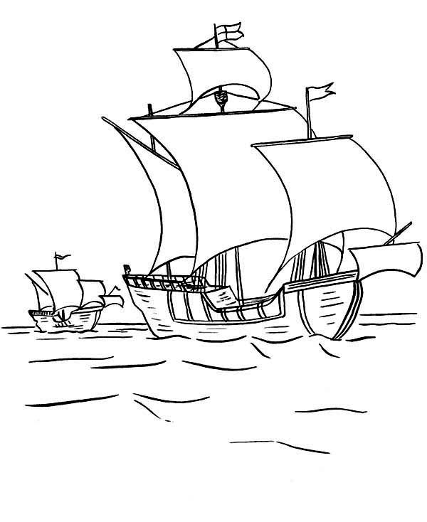 Boat, : Sail Boat Voyagers Coloring Page