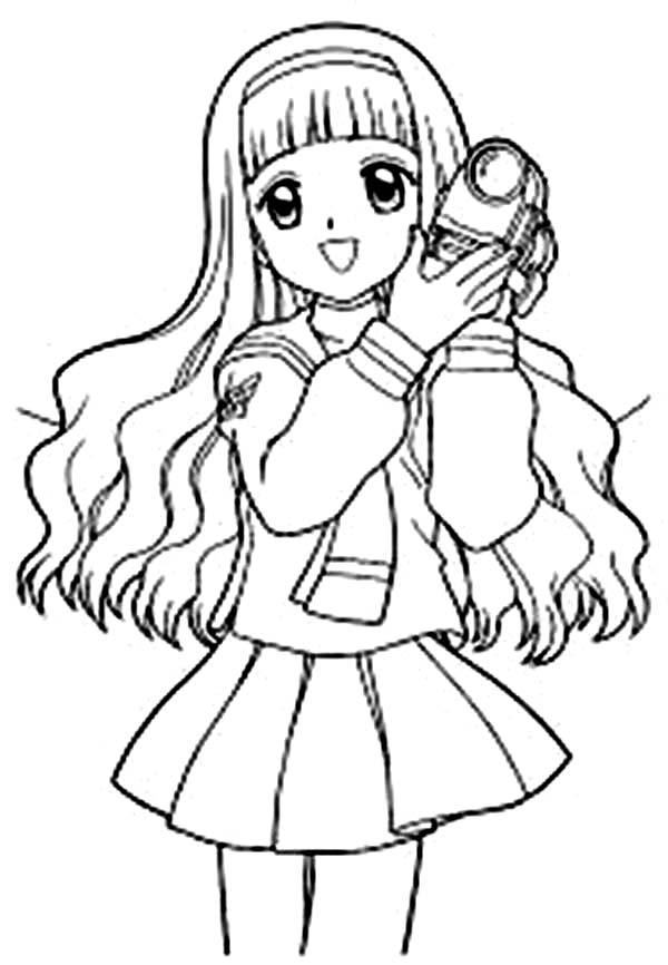 Cardcaptor Sakura, : Sakura Hold Camera in Her Hand in Cardcaptor Sakura Coloring Page