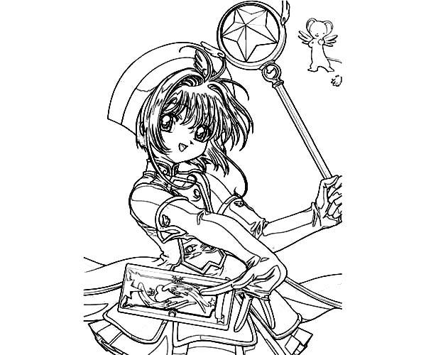 Cardcaptor Sakura, : Sakura Kinomoto from Cardcaptor Sakura Coloring Page