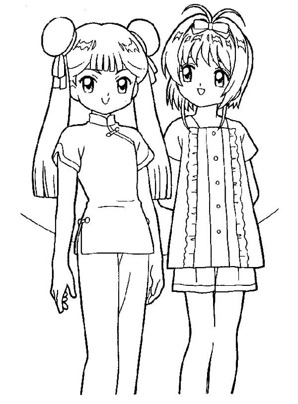 Cardcaptor Sakura, : Sakura and Her Friend Tomoyo Daidouji from Cardcaptor Sakura Coloring Page