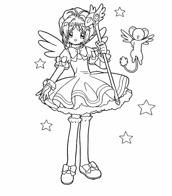 Cardcaptor Sakura, : Sakura and Kero Adventure in Cardcaptor Sakura Coloring Page