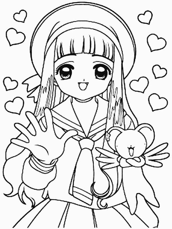 Cardcaptor Sakura, : Sakura and Kero Full of Love in Cardcaptor Sakura Coloring Page