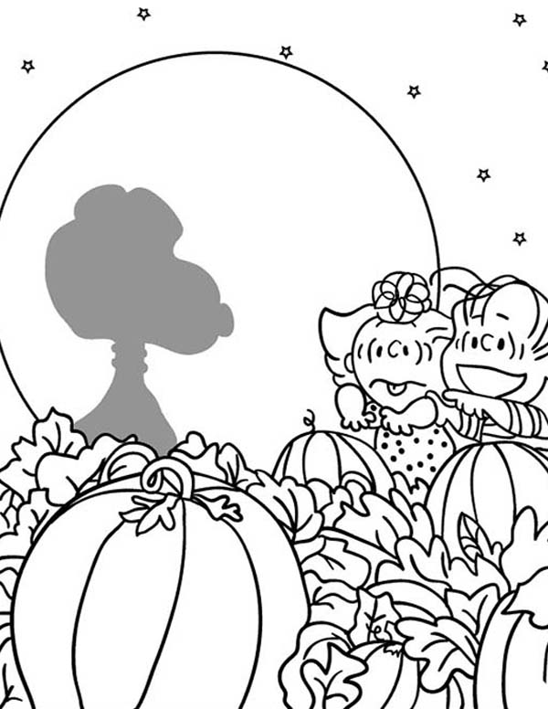 Charlie Brown, : Sally and Linus Grow Giant Pumpkin in Charlie Brown Coloring Page