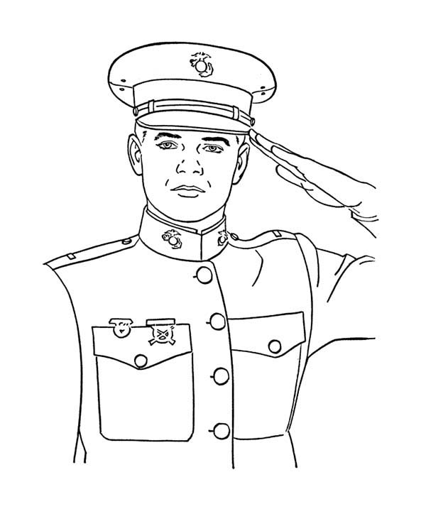Armed Forces Day, : Salute for Armed Forces in Armed Forces Day Coloring Page