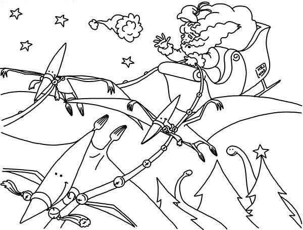 Pteranodon, : Santa Claus with Pteranodon Coloring Page