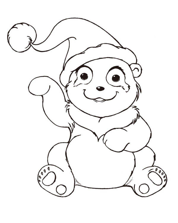 Panda, : Santa Panda Coloring Page