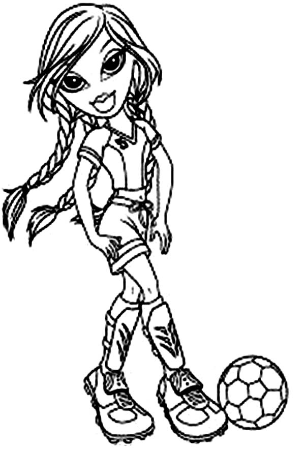 Bratz, : Sasha Bratz in Football Outfit Coloring Page