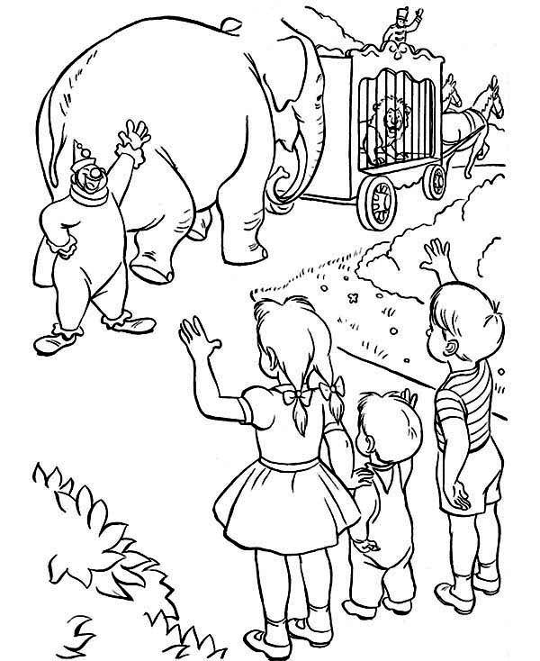 Circus, : Say Good Bye to Circus Group Coloring Page